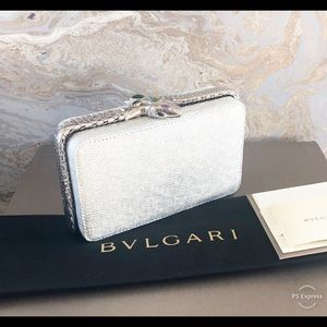 Bvlgari Bulgari Lizard Serpenti Jewel Jade Clutch